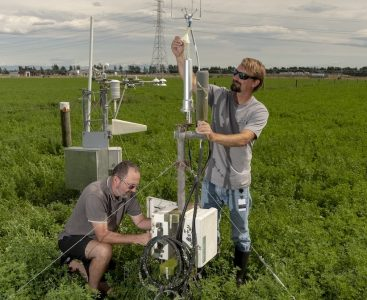 Ecosystems & Global Change Scientists John Hunt and Scott Graham  with equipment set up for data collection at Ashley Dene farm in Springston.  Image by Brad White for Manaaki Whenua